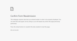Fix: Confirm Form Resubmission Error
