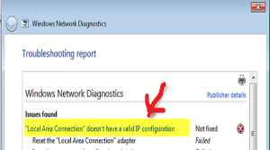 "How to fix ""local area connection"" doesn't have a valid ip configuration issue?"