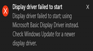 How to fix Display Driver Failed to Start error?
